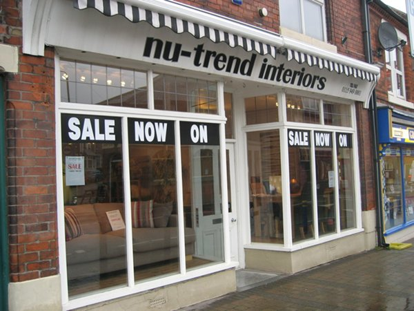 Shops and signs for Nu trend cleaners